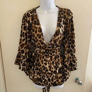 Cheetah surplice ruffle sleeve tie back blouse XL